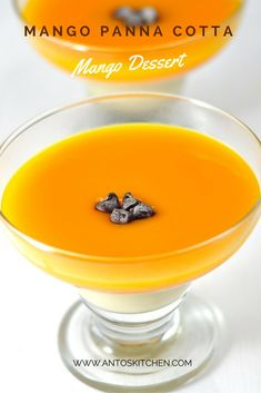 Mango Panna Cotta recipe is a chilled and delicious mango dessert with mango puree and heavy cream flavored with vanilla extract in 10 minutes. #antoskitchen #mango #dessert