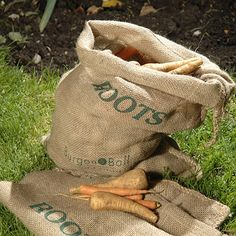 Root Vegetable Sacks. Pack of 2 natural hessian sacks to store root vegetable crops over the winter. Made by Burgon and Ball, the Vegetable Sacks are a simple way of preventing sweating and storage rot. Each hessian sack has Roots printed on the front, along with Burgon and Ball's company logo.    Potato Storage Sacks also available.