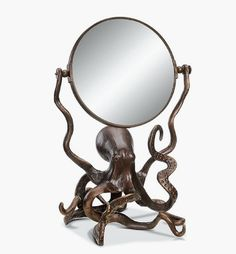 "Octopus Swivel Vanity Table Mirror 2 Sided Coastal Nautical Ocean Beach 13.5""H #NA #CoastalNauticalWhimsical"