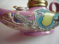 West-Virginia-Oil-Lamp-Dragon-Ceramic-Novelty-Lavender-Flowers-Weird-Unusual-Odd