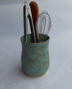 Pottery Vase, Ceramic Vase, Pottery Utensil Holder, Ceramic Utensil Holder, Medium in Turquoise Ceramic Utensil Holder, Slab Roller, Pottery Vase, Pottery Ideas, Ceramic Vase, Crock, Vases, Mosaic, Etsy Seller
