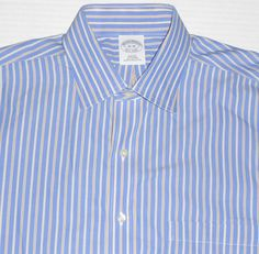 BROOKS BROTHERS Mens Non Iron Slim Fit Striped Button Front Dress Shirt 16 - 36 #BrooksBrothers