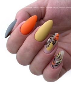 Heat Up Your Life with Some Stunning Summer Nail Art Stylish Nails, Trendy Nails, Floral Nail Art, Pretty Nail Art, Autumn Nails, Cute Acrylic Nails, Hot Nails, Nagel Gel, Nail Manicure