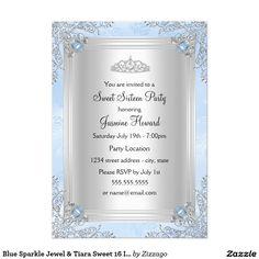 Blue and Silver Sparkle Jewel Tiara Winter Wonderland Sweet 16 Invitations. Designed by Zizzago