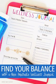 Looking to find your balance with all the demands of a busy life? Track your goals for mental and physical well being with this printable wellness journal page, and get tips for things to do every day to find your own balance! (ad)