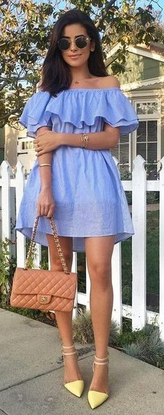 #summer #trends #outfits |  Blue Stripe Off the Shoulder Dress + Yellow D'orsay Pumps