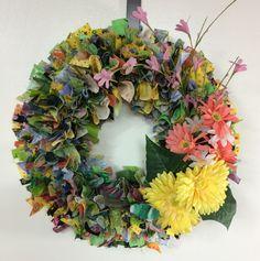 "16"" Think Spring Rag Wreath by PensPreciousTreasure on Etsy"