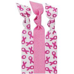 Emi-Jay 'Pink Ribbon' Hair Ties ($6.50) ❤ liked on Polyvore