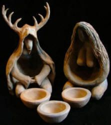 Goddess and Horned God figurine set with ritual pottery altar bowls