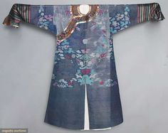 "HANDWOVEN GAUZE ROBE, CHINA, 19TH C Dark blue silk gauze summer robe embellished w/ pastel & metallic gold dragons, cranes, flaming pearls, etc., long sleeves w/ horse hoof cuffs, metallic gold trims, brass ball side buttons, Cuff-Cuff 82"", L 54"", (gold trim worn at neckline & cuffs)"