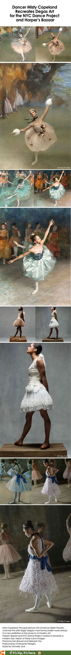 Misty Copeland and the NYC Dance Project create a Degas-themed photoshoot for Harper's Bazaar.