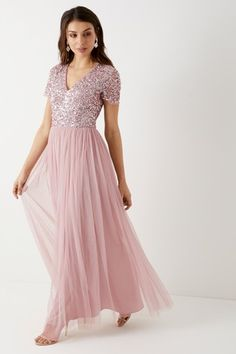 Buy Maya Tall Short Sleeve Sequin Maxi Dress from the Next UK online shop Dusty Pink Bridesmaid Dresses, Beautiful Bridesmaid Dresses, Beautiful Dresses, Prom Dresses, Formal Dresses, Bridesmaids, Sequin Maxi, Pink Maxi, Skirt Fashion