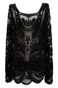 Lace Crochet Embroidered Black Blouse #ROMWE