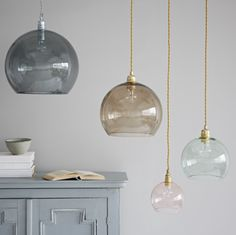 Coloured Glass Pendant Lights Petite Lamp With Brass Fitting - Trouva. These beautiful coloured glass pendant lights look stunning alone or mixed and matched. Bathroom Pendant Lighting, Dining Lighting, Hallway Lighting, Living Room Lighting, Cool Lighting, Kitchen Lighting, Pendant Lights, Lighting Ideas, Glass Lights