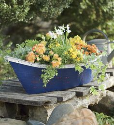 Add summer colors and home-iness to your outdoor space with flowers. Do it coastal style with Miniature Beach Garden Pots, Painted Terra Cotta Pots, Shell Embellished Pots, or Boat Planters like this beauty from Plow and Heart. Planter Boxes, Hanging Planters, Garden Planters, Hydrangea Care, Pot Jardin, Porch Garden, Beach Gardens, Coastal Gardens, Beach House Decor