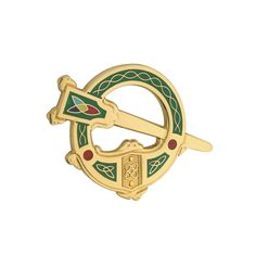 Brooch Gold Plated & Green Made in Ireland - CV118NB0NJ3 - Brooches & Pins  #jewellrix #Brooches #Pins #jewelry #fashionstyle