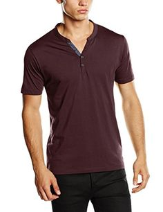 SELECTED HOMME Herren T-Shirt Pima Ask Joe Ss Split Neck Idx, Einfarbig, Gr. Large, Braun (Fudge)