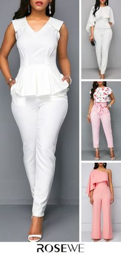 Upgrade your wardrobe and try new styles this year. White V Neck Sleeveless Peplum Summer Chic Jumpsuit Casual Work Outfits, Basic Outfits, Curvy Outfits, Stylish Outfits, Curvy Girl Lingerie, Looks Chic, Summer Chic, Jumpsuits For Women, Fashion Dresses