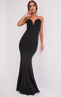 PrettyLittleThing Womens Ladies Wendie Black Sweetheart Fishtail Maxi Dress  | eBay