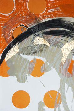 Steph Houstein: Bonescape 68, silkscreen & mixed media, 56x38cm