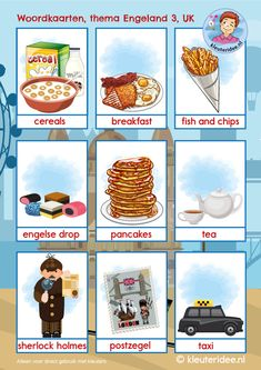 Woordkaarten Engeland UK 3, kleuteridee, free printable Learn Dutch, Learn English, Primary English, Dutch Language, Alphabet, English Lessons, Social Platform, Speech Therapy, United Kingdom