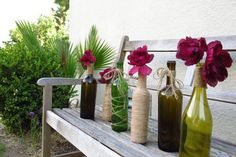 Perfect for parties, these wine bottle vases feature various types of designs, all make with twine. So be creative and come up with a collection of your own. You can also use different colors if you want to draw more attention to the vases.{found on etsy}.
