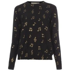 Paul Smith Black Music Note Print Wool Sweater (425 AUD) ❤ liked on Polyvore featuring tops, sweaters, shirts, long sleeves, black top, black long sleeve shirt, black shirt, paul smith shirt and long sleeve sweaters