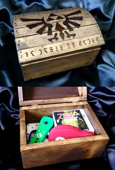 This wooden Legend of Zelda chest is perfect for storing jewelry, handheld devices, games and other little treasures! Keep your valuables safe and secretly shout the chest opening theme each time you take an item. Dun nuh nuh NAHHH! #legendofzelda #zelda #link