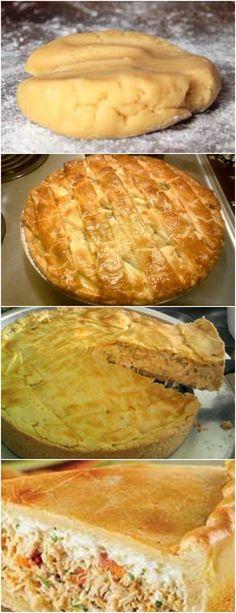 TORTA DE FRANGO COM MASSA PODRE AMOO!! VEJA AQUI>>>Passar tudo no liquidificador Untar a forma com margarina 1 camada de massa #receita#bolo#torta#doce#sobremesa#aniversario#pudim#mousse#pave#Cheesecake#chocolate#confeitaria Food L, Good Food, Quiche, Empanadas, Food Hacks, Sandwiches, Brunch, Food And Drink, Bread