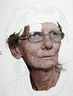 hyper-realistic paintings by Colin Chillag  It's like paint by numbers for gifted folk...