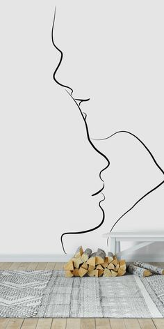 Forehead Kiss wall mural from happywall Kiss Painting, Couple Painting, Couple Art, Pencil Art Drawings, Art Drawings Sketches, Kissing Silhouette, Forehead Kisses, Wall Murals, Wall Art
