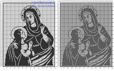 Sant'Anna con Maria schema filet uncinetto nella categoria religione