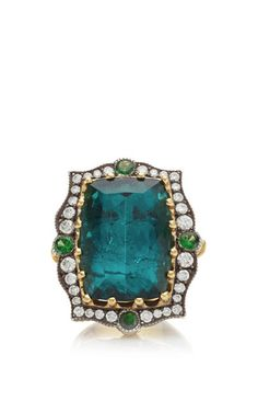 One Of A Kind Blue Tourmaline And Tsavorite Ring by Arman Sarkisyan for Preorder on Moda Operandi