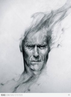 Cool charcoal drawing of Clint Eastwood