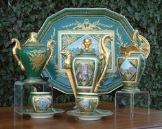 "Antique Sevres Empire Porcelain Tea Set circa 1870"""