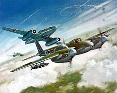 """Me 262 and Mosquito; box top cover from the Airfix """"Dogfight Doubles"""" series of 1/72 plastic models."""
