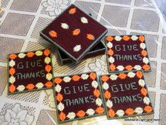 Give Thanks Fall Coaster Set with Box on Etsy, $10.00