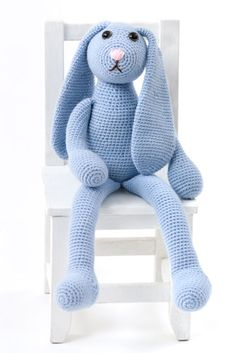 """One Skein  Bunny         with             click to enlarge       Printer Friendly PDF    designed by  Deb Richey         TECHNIQUE USED: Crochet              FINISHED MEASUREMENTS    Bunny measures approximately 21""""/53.5cm tall (from head to toe), or 10""""/25.5cm tall (seated)"""