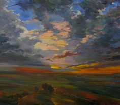 """Saatchi Online Artist: Paul Peterson; Oil, 2011, Painting """"Frog Creek Rd. And West"""""""