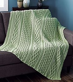Braided Cables Afghan Designed by Florence Nahorny. Aran patterns are combined in this classic design. Kit includes Maximum Value yarn. Shown in Lt Green. Afghan Patterns, Crochet Blanket Patterns, Knitting Patterns, Crotchet Blanket, Sweater Patterns, Knitted Afghans, Knitted Throws, Cable Knit Blankets, Cable Knitting