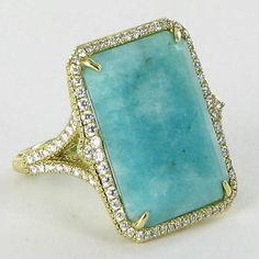 Judith Ripka Amazonite Ring 0.76cts Diamonds 18k Yellow Gold  | Jewelry on Sale at Tradesy