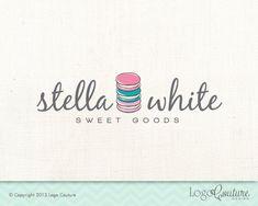 Premade Bakery Shop Logo - Custom Logo - Stella White Sweet Goods - Bakery - Sweets - Macaron Bakery