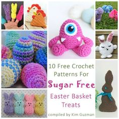Why not try something different than a sugar-filled Easter basket this year? Try some of these cuties for a long-lasting treat. 10 Free Crochet Patterns for SUGAR FREE Easter Basket Treats (finger crochet link) Holiday Crochet, Easter Crochet, Crochet Gifts, Crochet Toys, Kids Crochet, Crochet Round, Crochet Animals, Crochet Blanket Edging, Crochet Basket Pattern