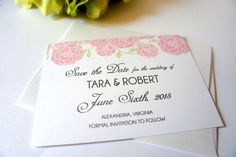 Pink Floral Save the Date Card - Wedding, Pink Save the Dates, Pink Floral, Shimmer, Save the Dates- DEPOSIT