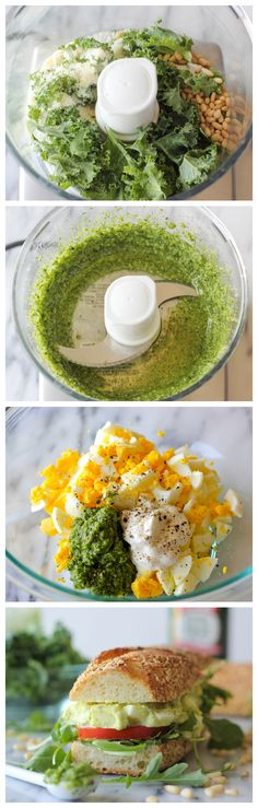 Kale Pesto Egg Salad – The addition of kale pesto in this egg salad is a wonderful, healthy twist to the traditional version! Kale Pesto Egg Salad – The addition… Gourmet Sandwiches, Gourmet Burger, Steak Sandwiches, Kale Pesto, Vegetarian Recipes, Cooking Recipes, Healthy Recipes, Healthy Snacks, Baguette