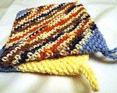 Super Thick 100% Cotton Crochet Potholders Hotpads Blue Cream Terra Cotta Set of 2