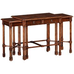 Jonathan Charles Chippendale Gothic Nest of Tables