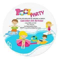 Shop Girl's Round Pool Party Birthday Invitation created by kidsgalore. Summer Pool Party, Summer Parties, Pool Party Birthday Invitations, Round Pool, Diving Board, Girl Standing, Design Girl, Splish Splash