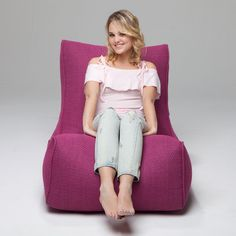 Evolution Sakura Pink by Ambient Lounge® Pink Bean Bag, Bean Bag Sofa, Floor Chair, Evolution, Lounge, Cozy, Fabric, Fashion, Airport Lounge