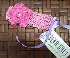 crochet pink head band